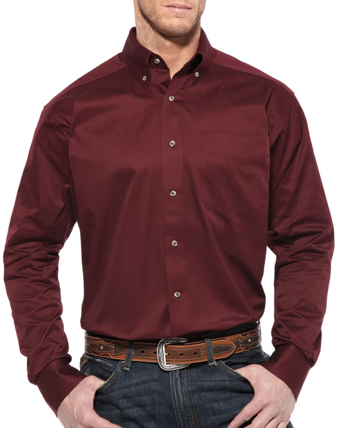 Ariat Solid Twill L S Shirt Burgundy