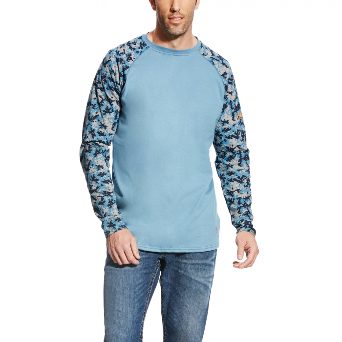 Ariat FR Baseball Crewneck L/S Shirt - Steel Blue/Digi Camo