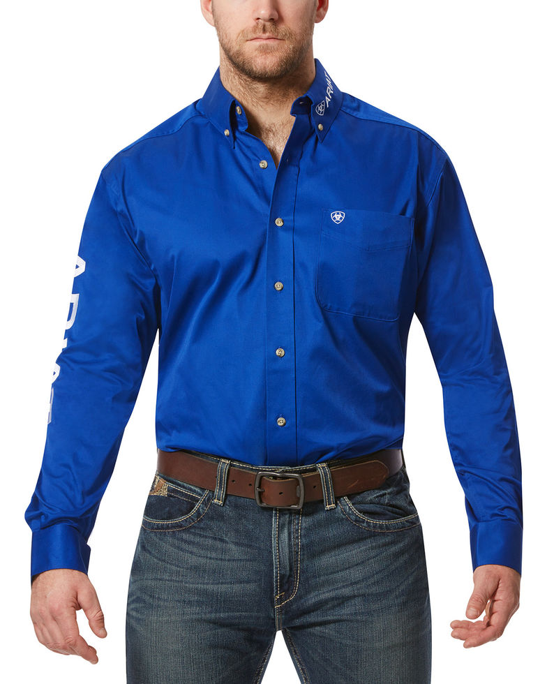 Ariat Team Logo Twill L/S Shirt - Ultramarine/White
