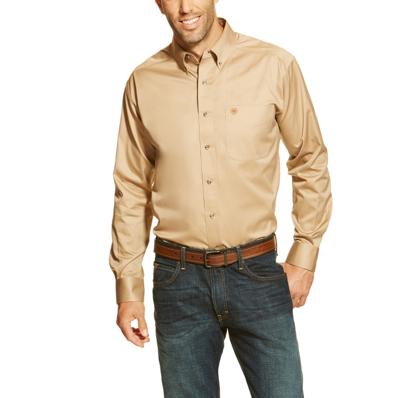 Ariat Solid Twill L/S Shirt - Khaki