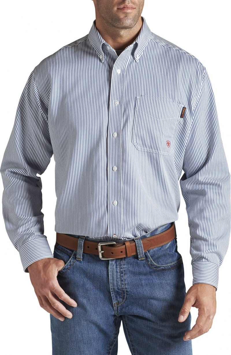 Ariat FR Stripe Work Shirt - Bold Blue Stripe