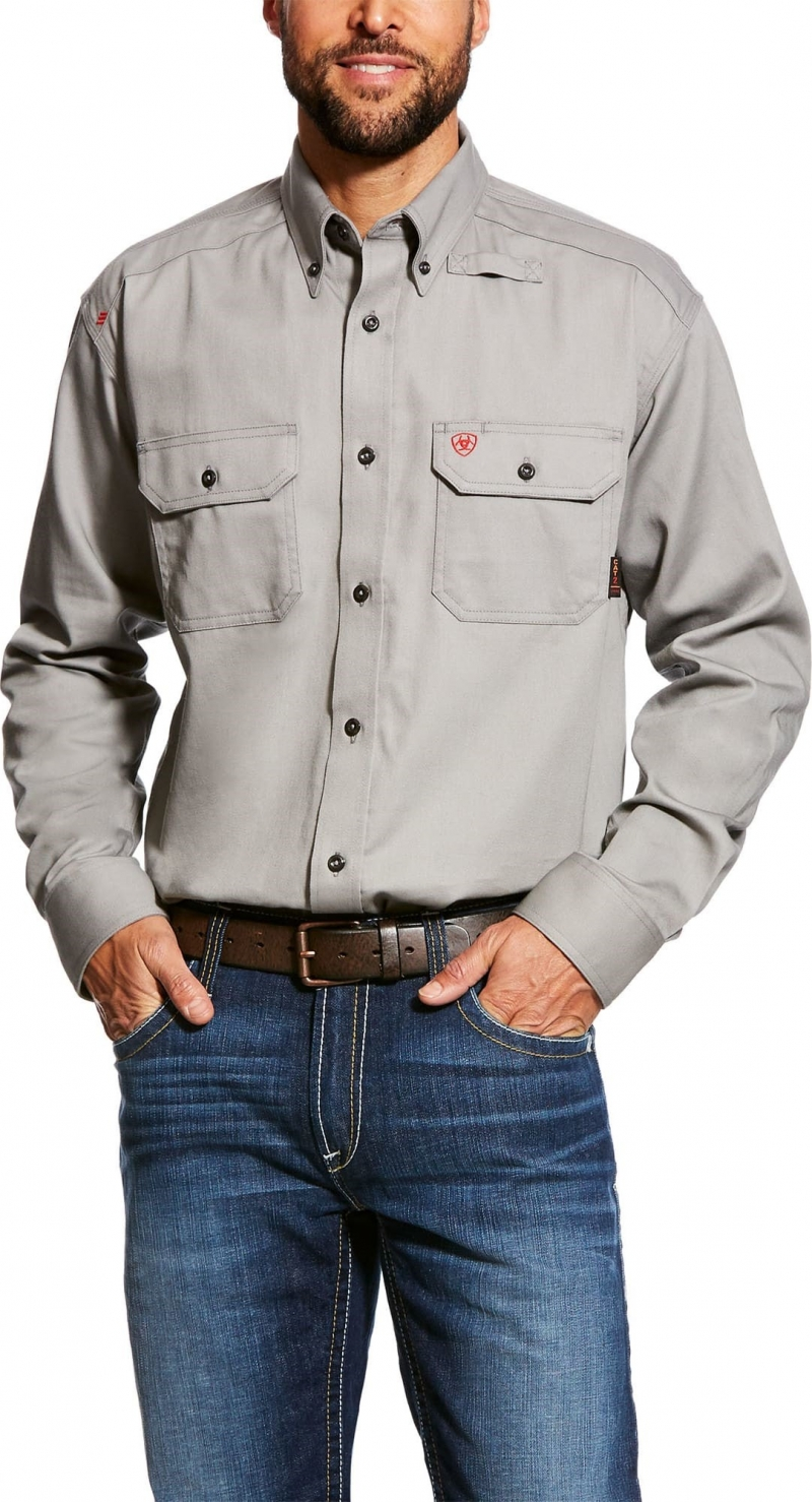 Ariat FR Button Front Solid Work Shirt - Silver Fox