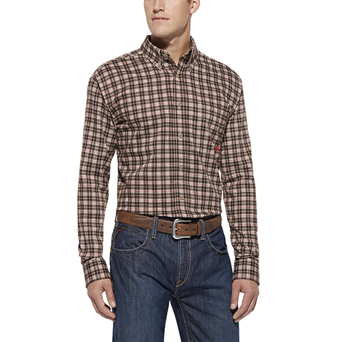 Ariat FR Plaid Work Shirt - Coffee Bean Multi