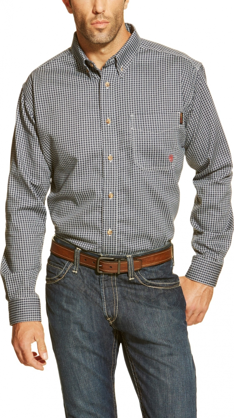 Ariat FR Plaid Work Shirt - Blue Multi