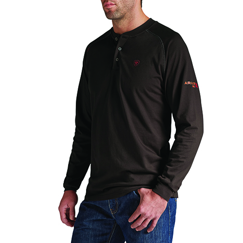 Ariat FR Work Henley, Long Sleeve - Coffee Bean