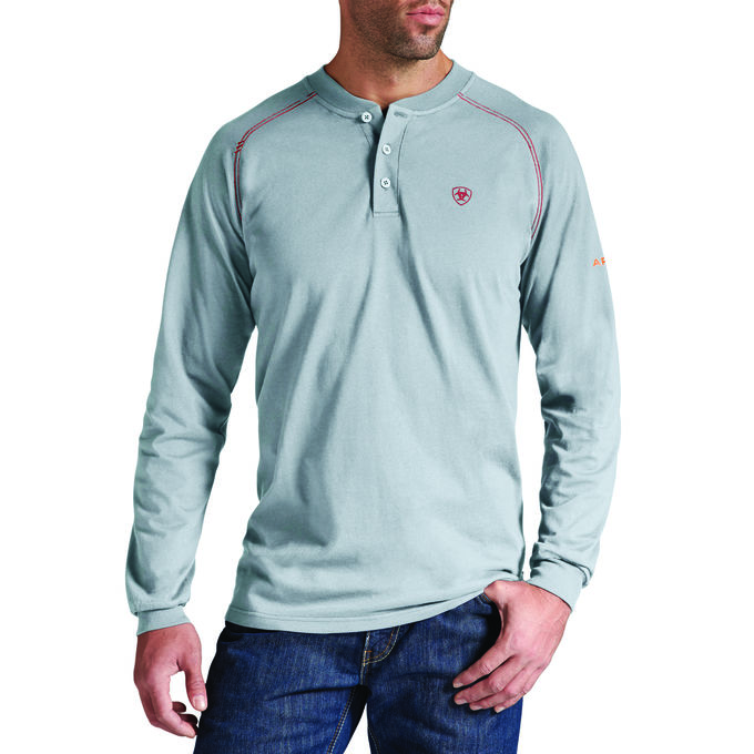 Ariat FR Work Henley, Long Sleeve - Silver Fox