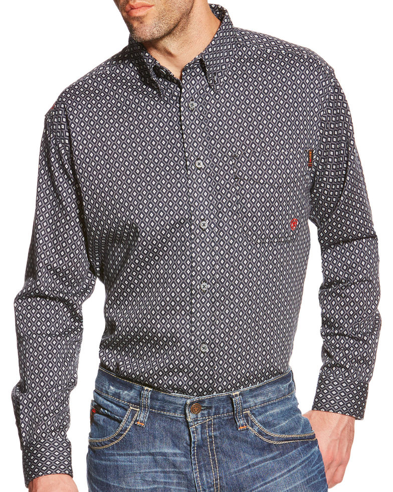 Ariat FR Button Front Tyler Print Shirt - Quiet Shade