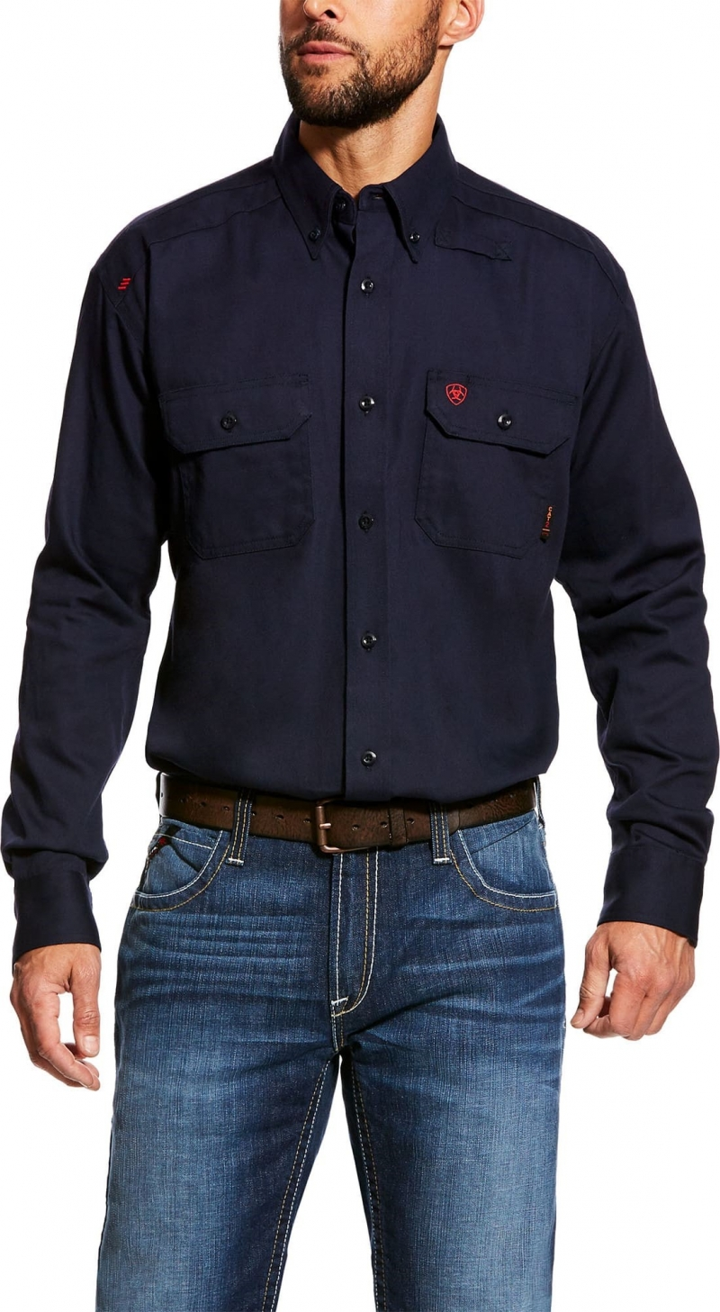 Ariat FR Button Front Solid Work Shirt -  Navy