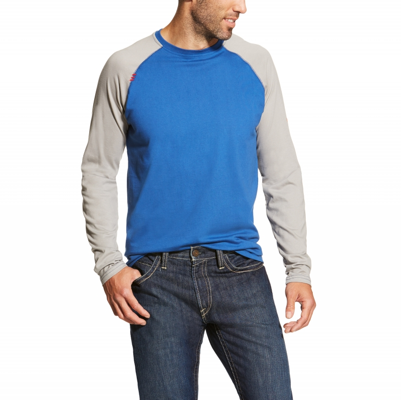 Ariat FR Crew Baseball Tee, Long Sleeve - Colbalt/Light Gray