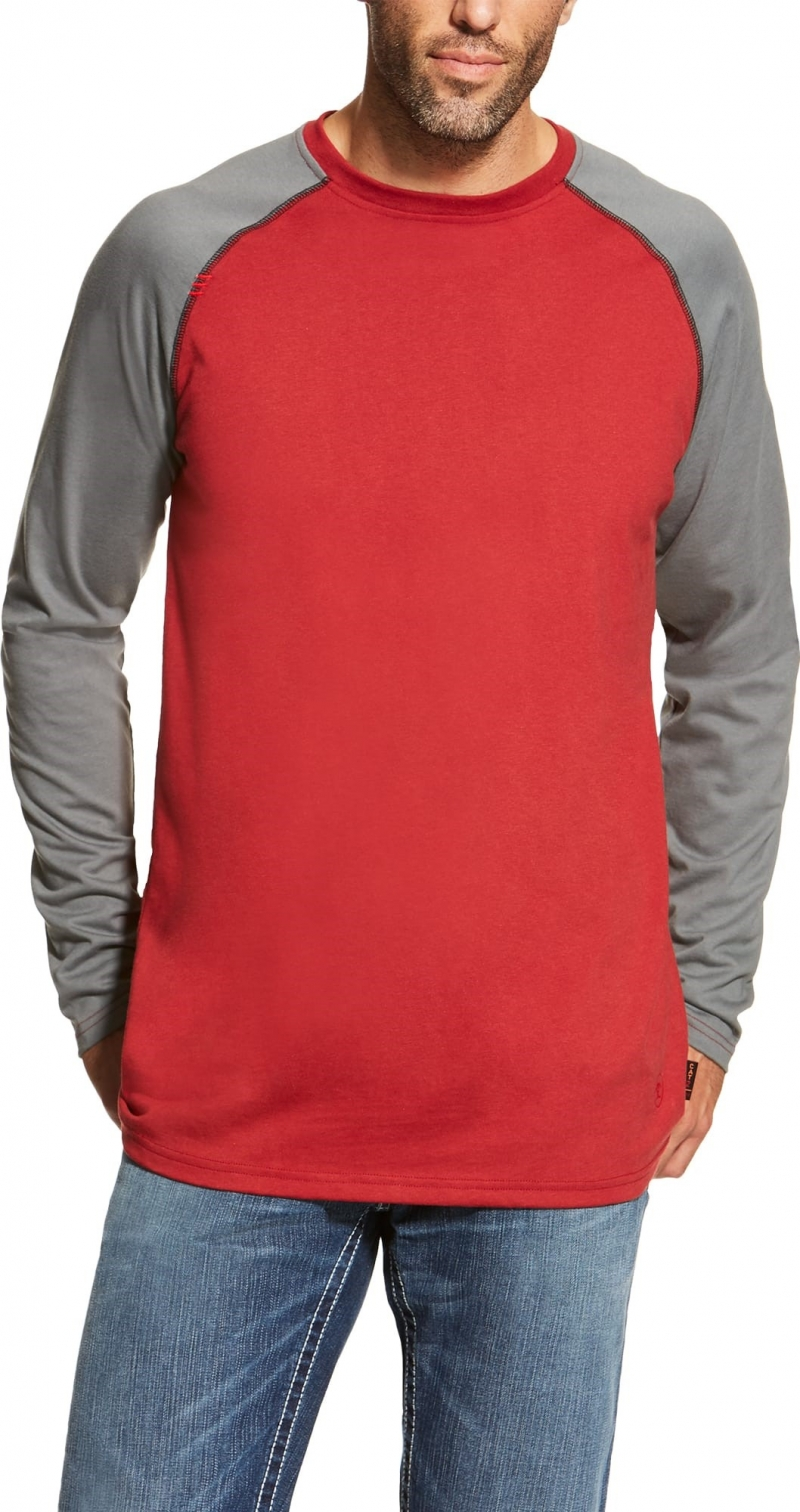 Ariat FR Crew Baseball Tee, Long Sleeve - Red/ Dark Gray
