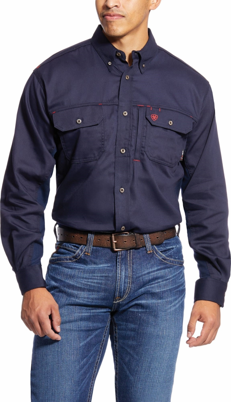 Ariat FR Button Front Solid Vent Shirt - Navy
