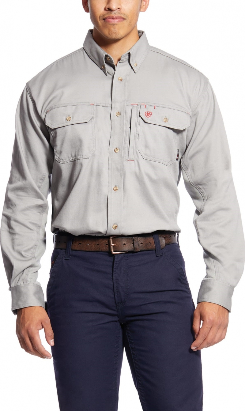 Ariat FR Button Front Solid Vent Shirt - Silver Fox
