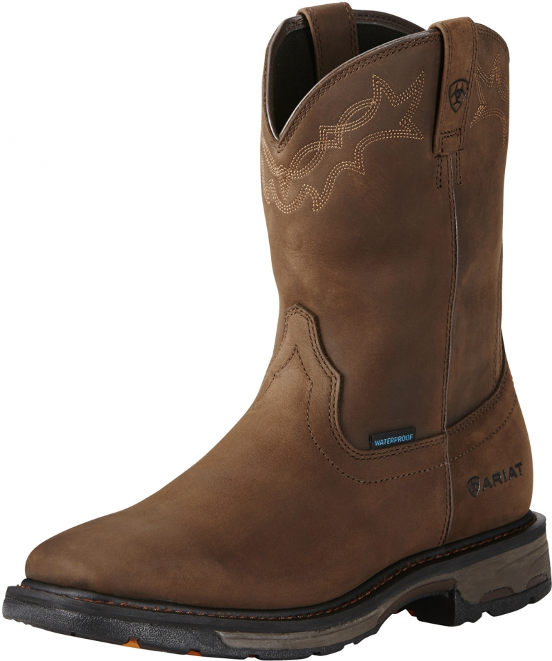 495cb47f903 Ariat WORKHOG Pull-On Wide Square - Oily Distressed Brown