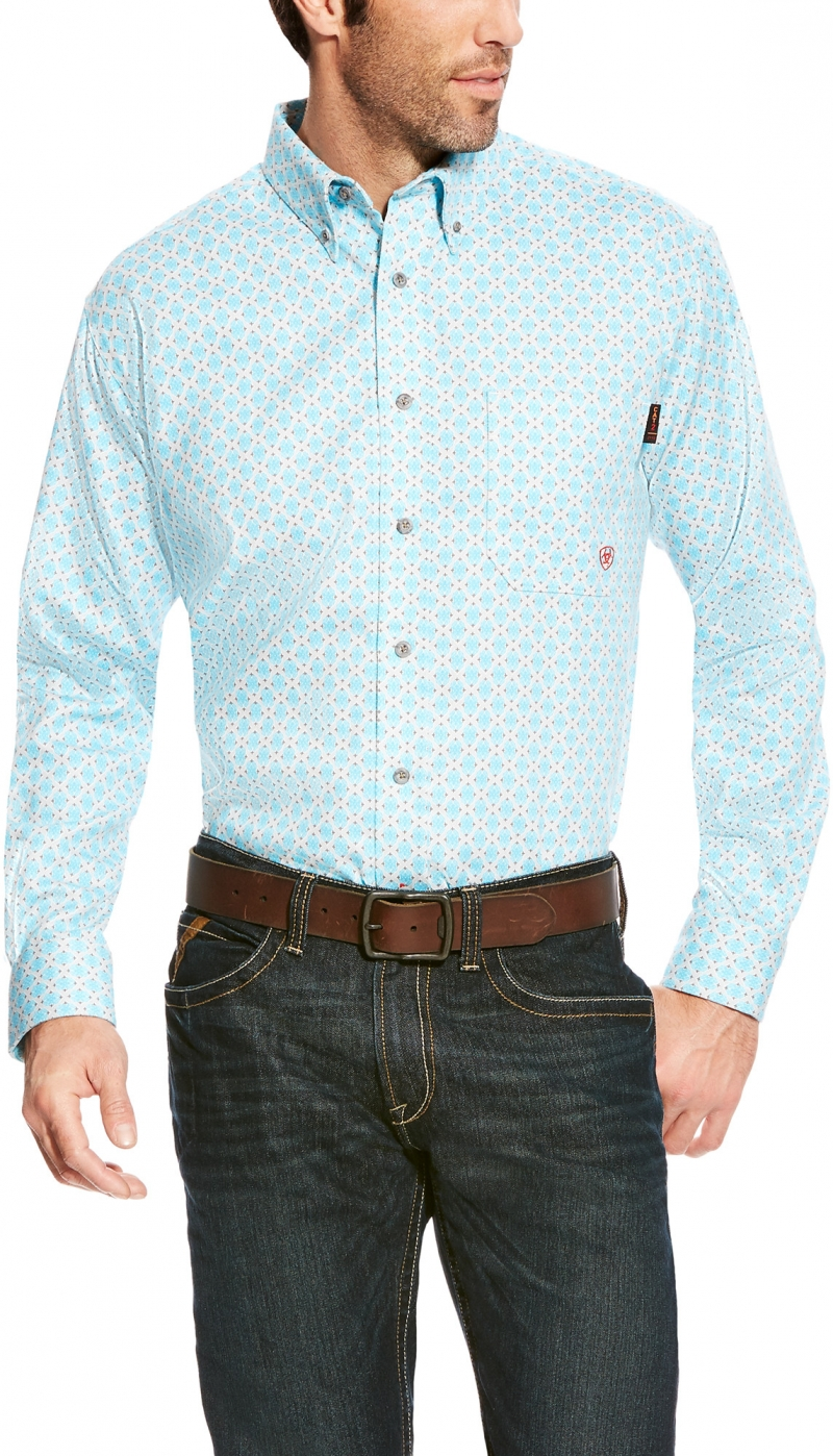 Ariat FR Button Front Shreve Print Shirt - Aqua Multi