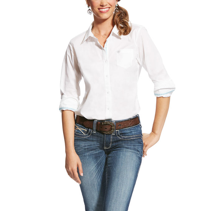 Ariat Women's Kirby Stretch Button Front L/S Shirt - White