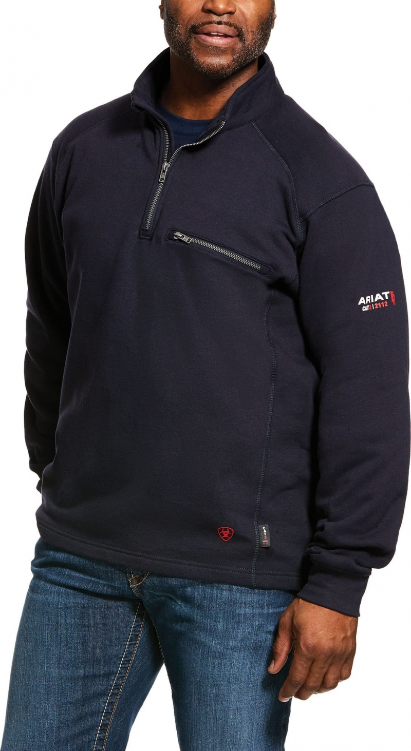 Ariat FR Rev 1/4 Zip Fleece - Navy
