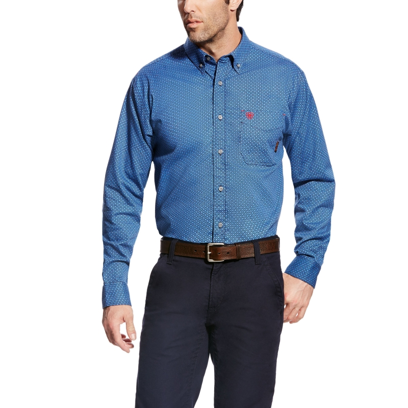 *Ariat FR Burleigh Work Shirt - Blue Multi