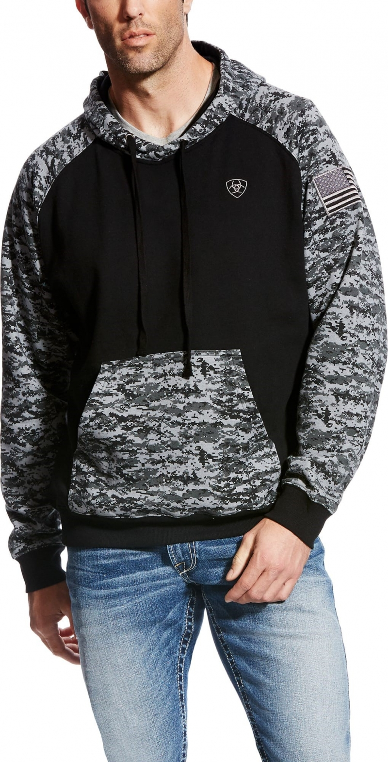 ARIAT PATRIOT HOODIE - BLACK DIGI CAMO