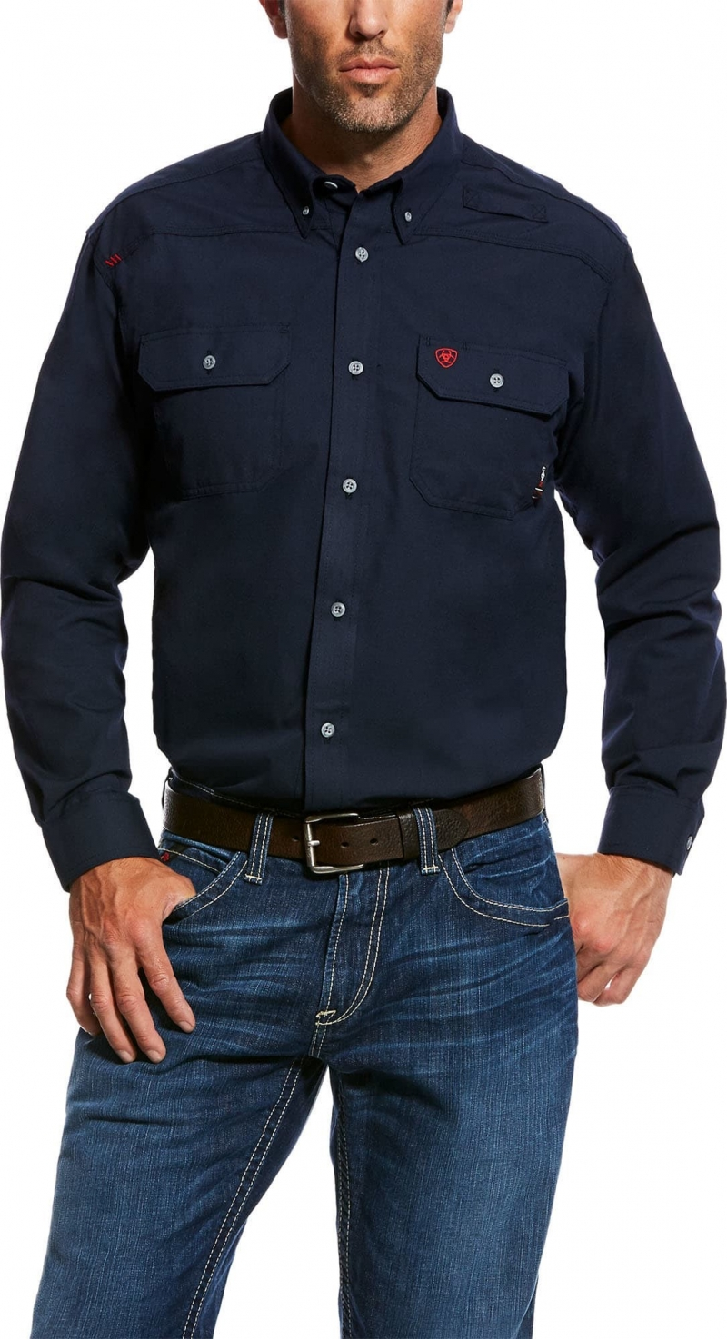 Ariat FR Button Front Featherlight Work Shirt - Navy