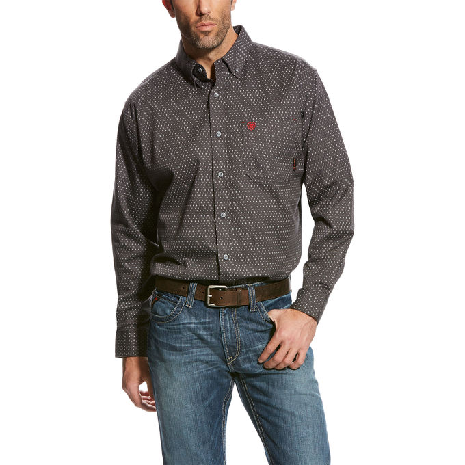 Ariat FR Button Front Waco Work Shirt - Grey Multi