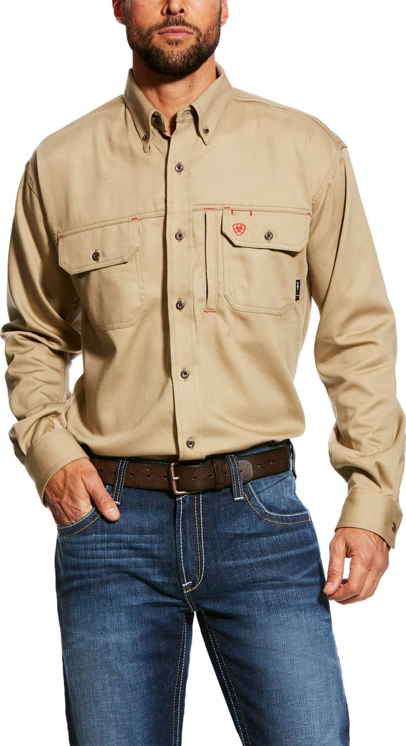 Ariat FR Button Front Solid Vent Shirt - Khaki
