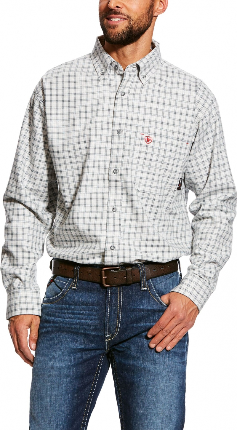 Ariat FR Button Front Atlas Work Shirt - Shelter Gray