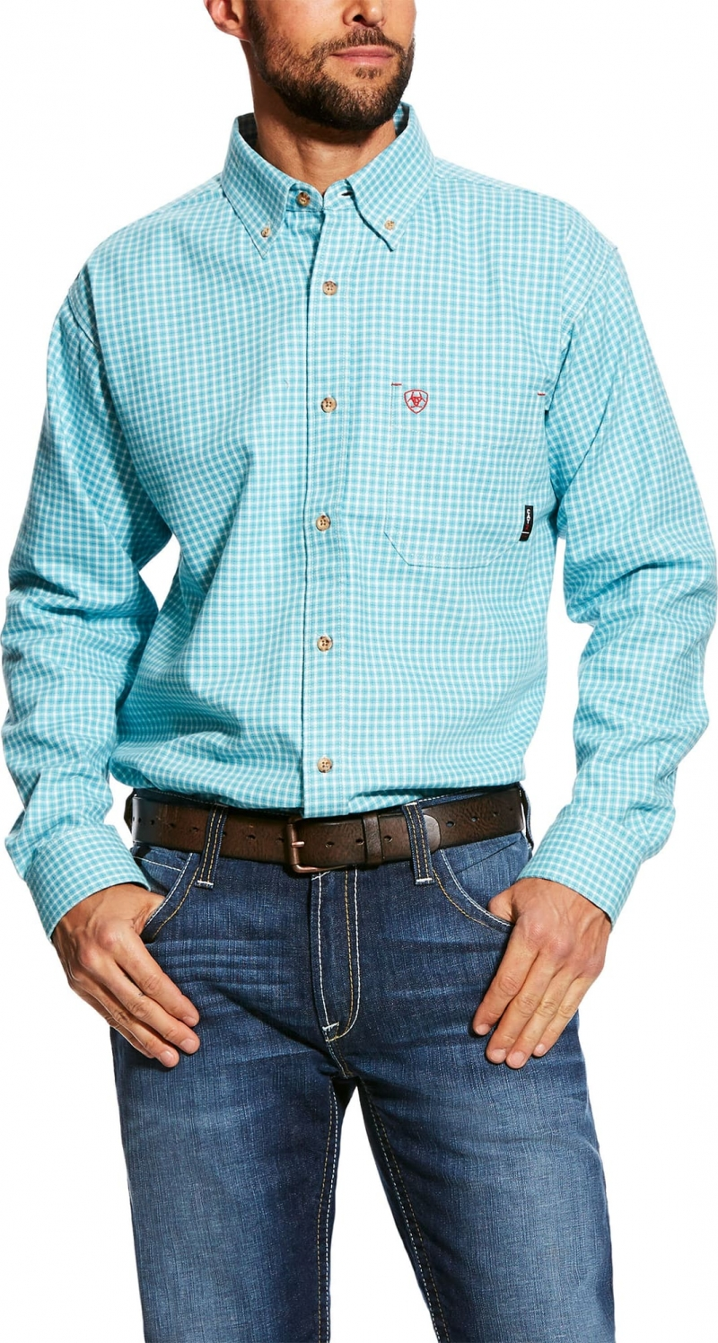 Ariat FR Button Front Brent Work Shirt - Bluebird