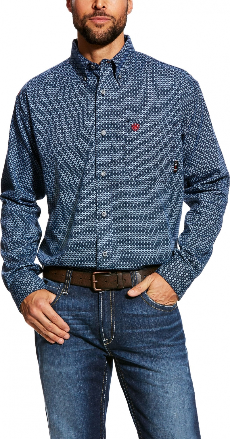 Ariat FR Button Front Dunbar Work Shirt - Navy