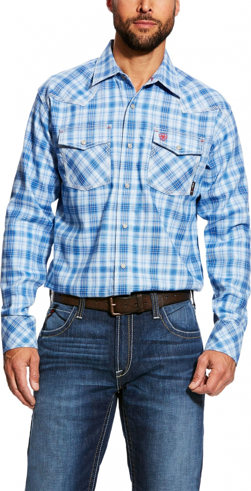 Ariat FR Snap Front Magnus L/S Retro Work Shirt - Blue