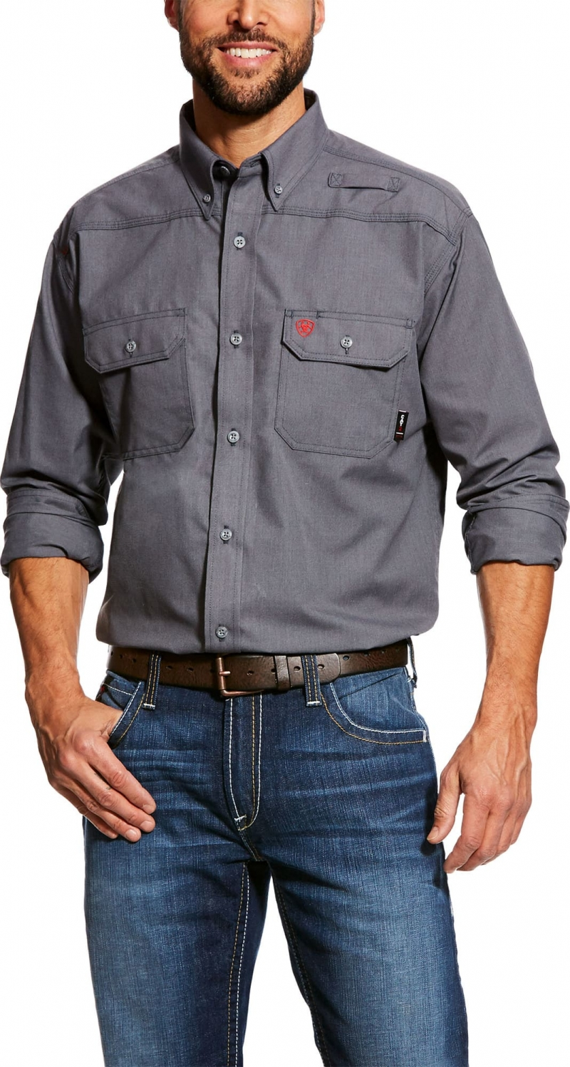 Ariat FR Button Front Featherlight Work Shirt - Gunmetal