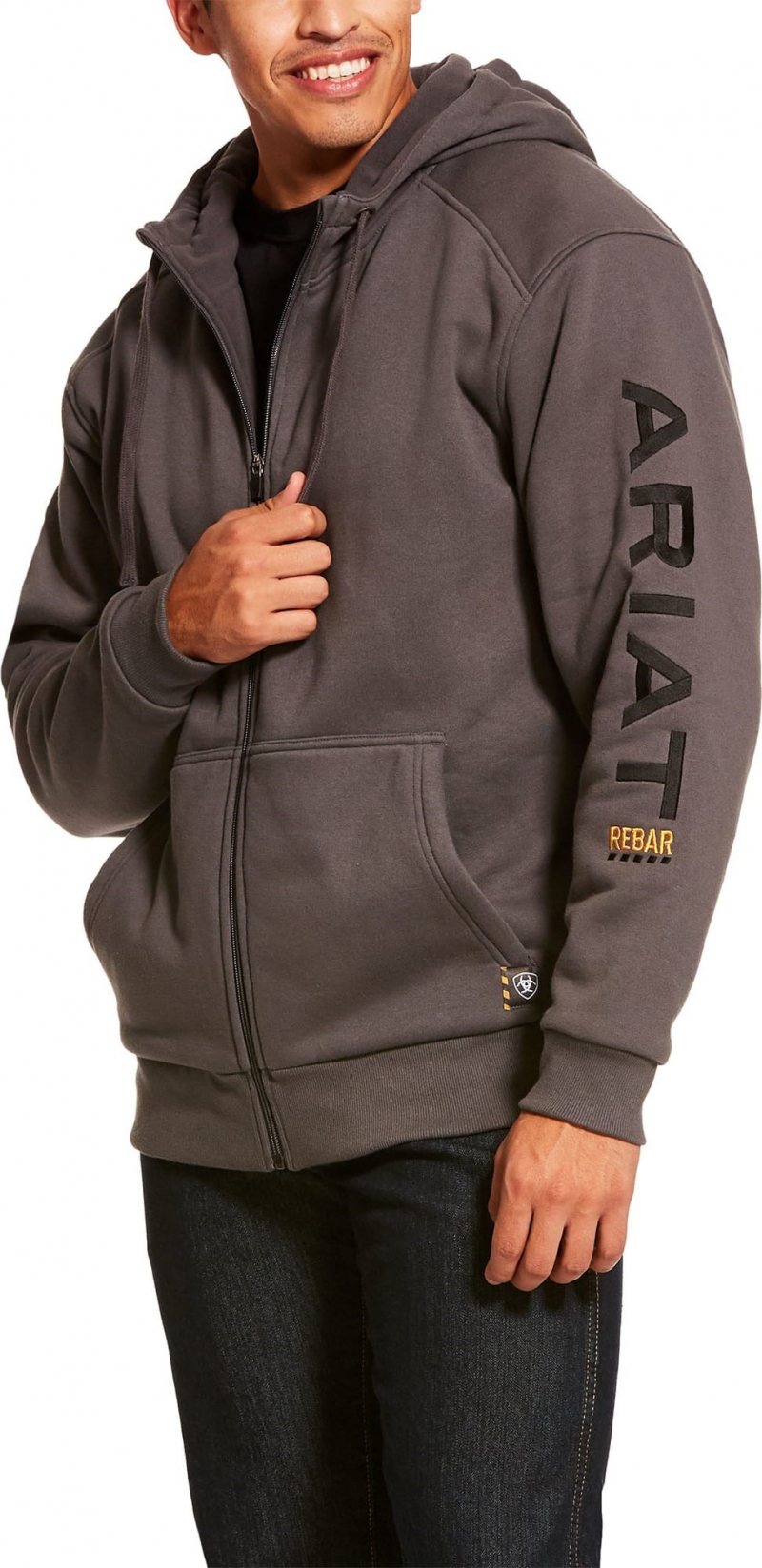 Ariat Rebar All-Weather Full Zip Hooded Sweatshirt - Rebar Grey