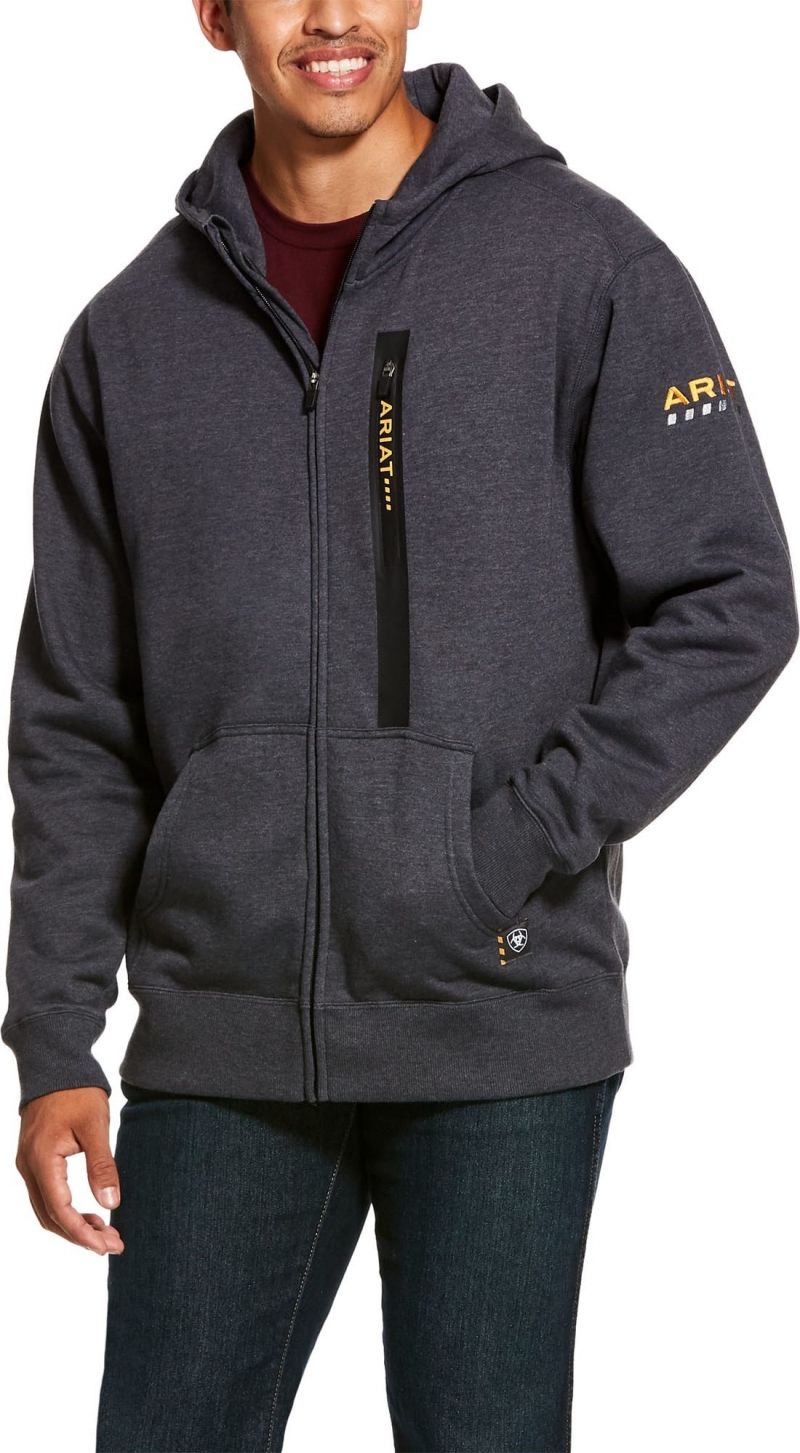 Ariat Rebar Workman Full Zip Hooded Sweatshirt - Charcoal Heather