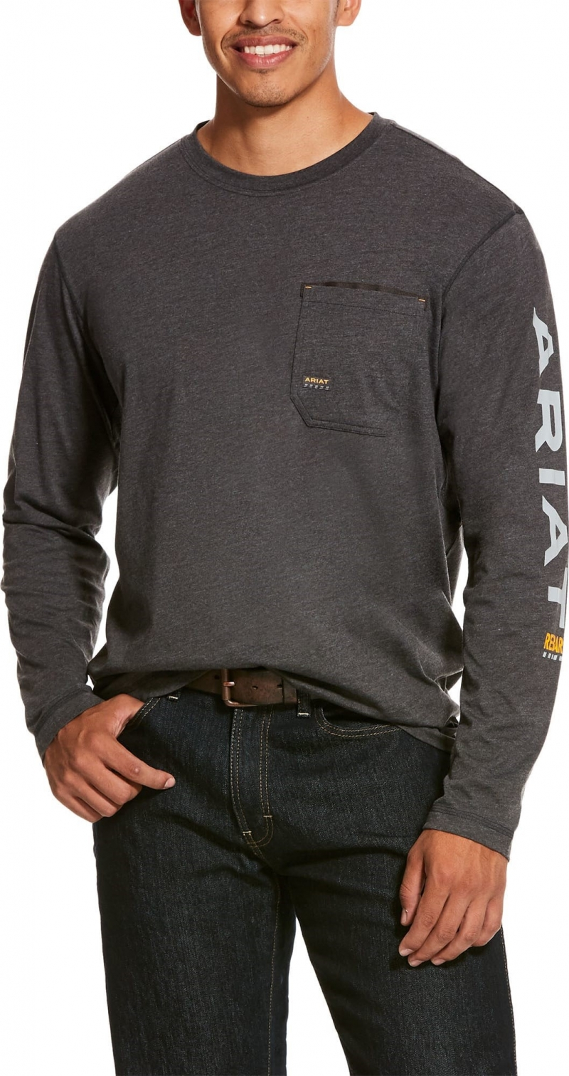 Ariat Rebar Workman Logo  Crewneck Pocket L/S Shirt - Charcoal Heather