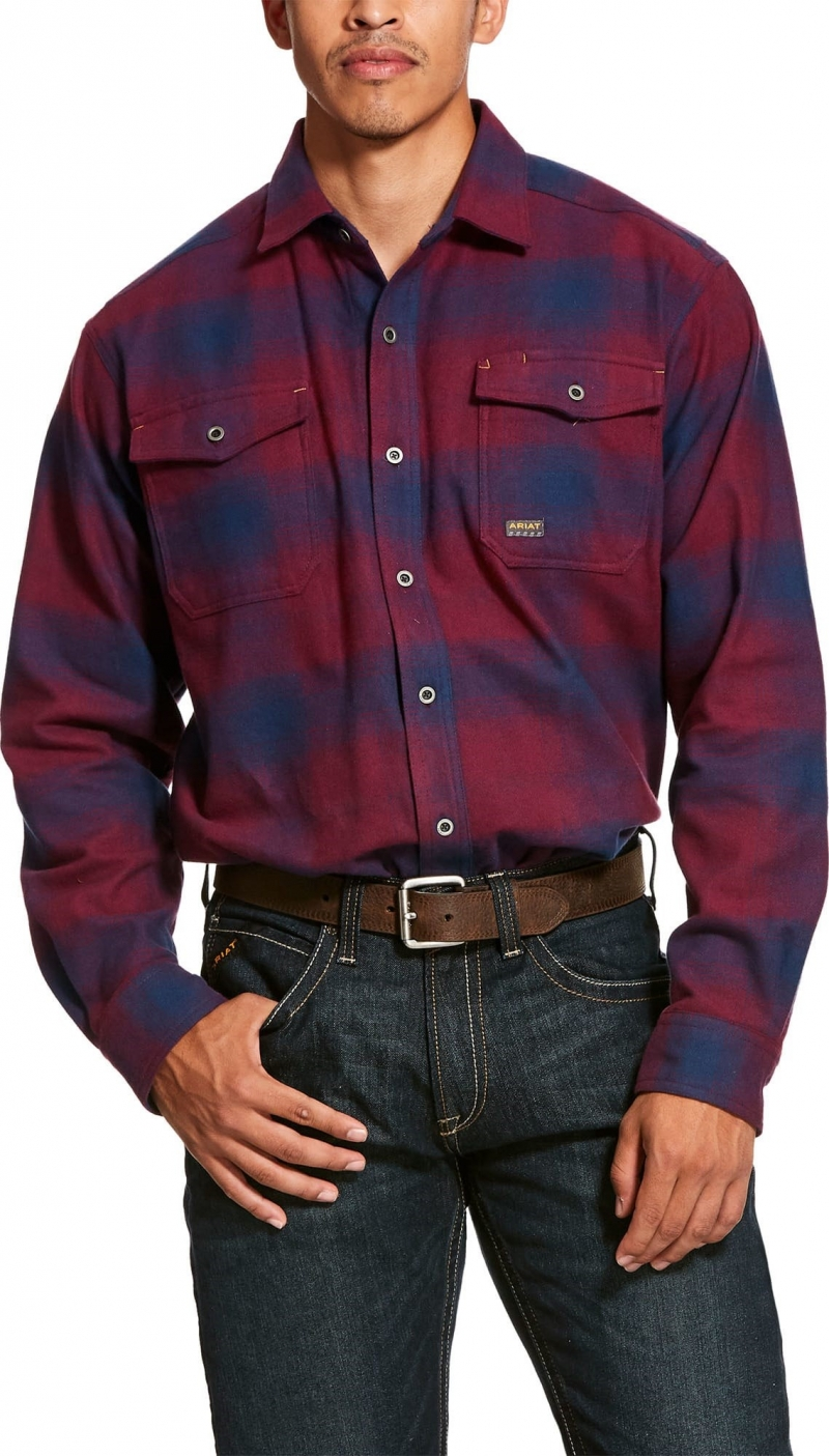 Ariat Rebar Heavyweight Button Front L/S Flannel Shirt - Brant Plaid