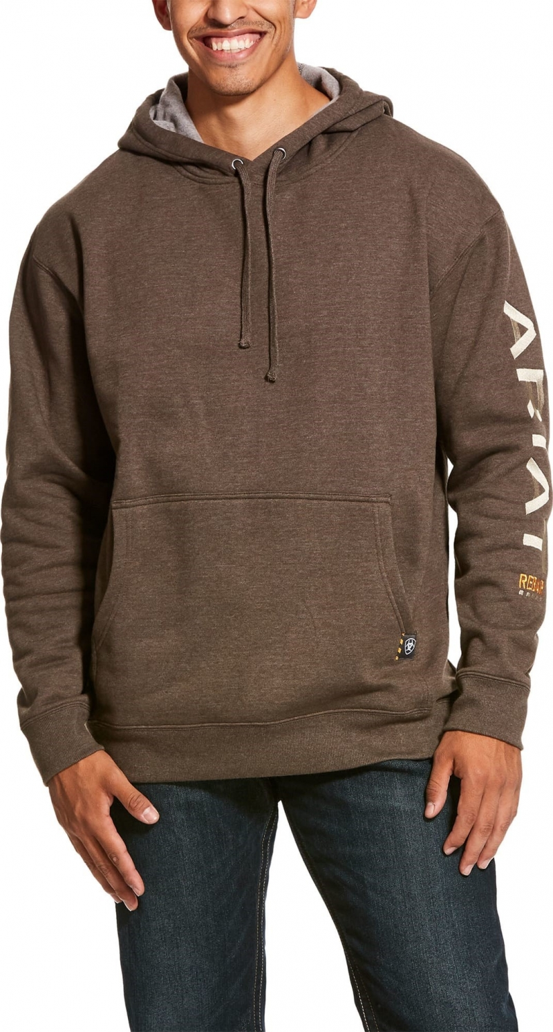 Ariat Rebar Graphic Pullover Hooded Sweatshirt - Banyan Bark Heather