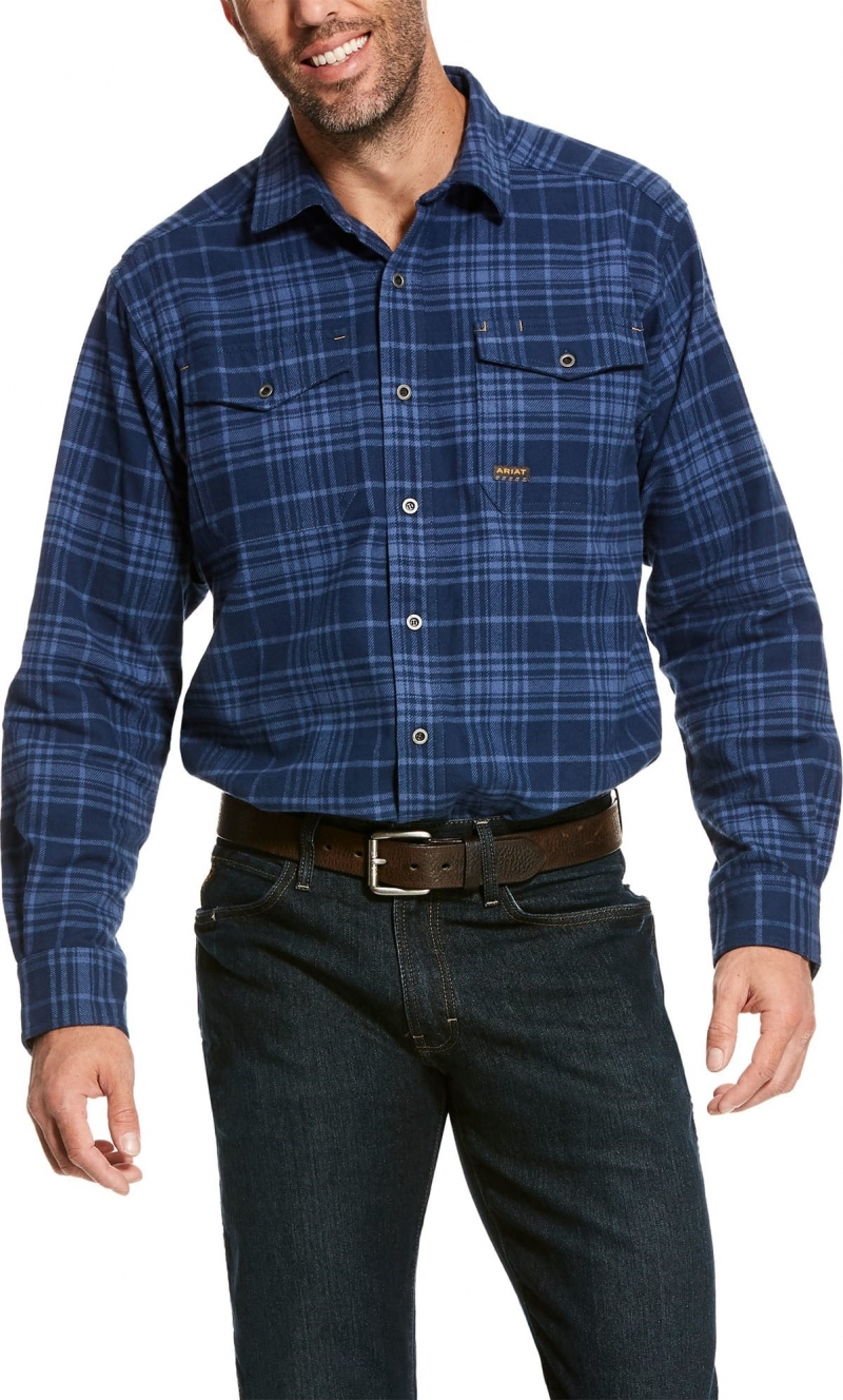 Ariat Rebar Heavyweight Button Front L/S Flannel Shirt - Jameson Plaid