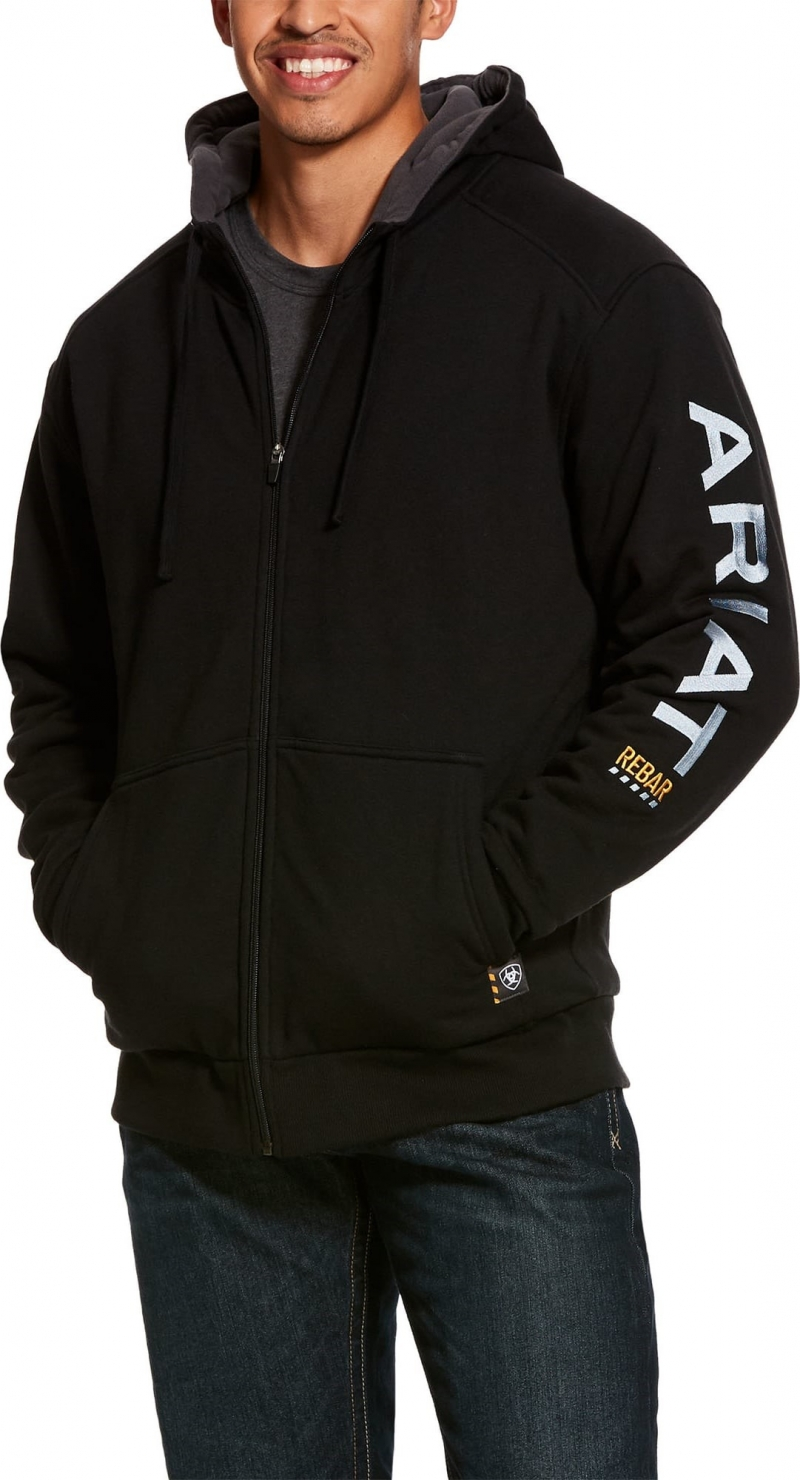 Ariat Rebar All-Weather Full Zip Hooded Sweatshirt - Black