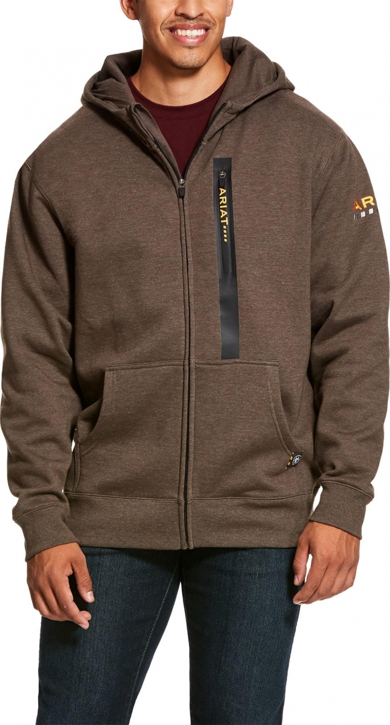 Ariat Rebar Workman Full Zip Hooded Sweatshirt - Banyan Bark Heather
