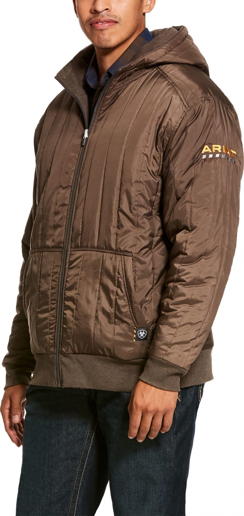 Ariat Rebar All-Weather Full Zip Hooded Sweatshirt -Banyan Bark Heather