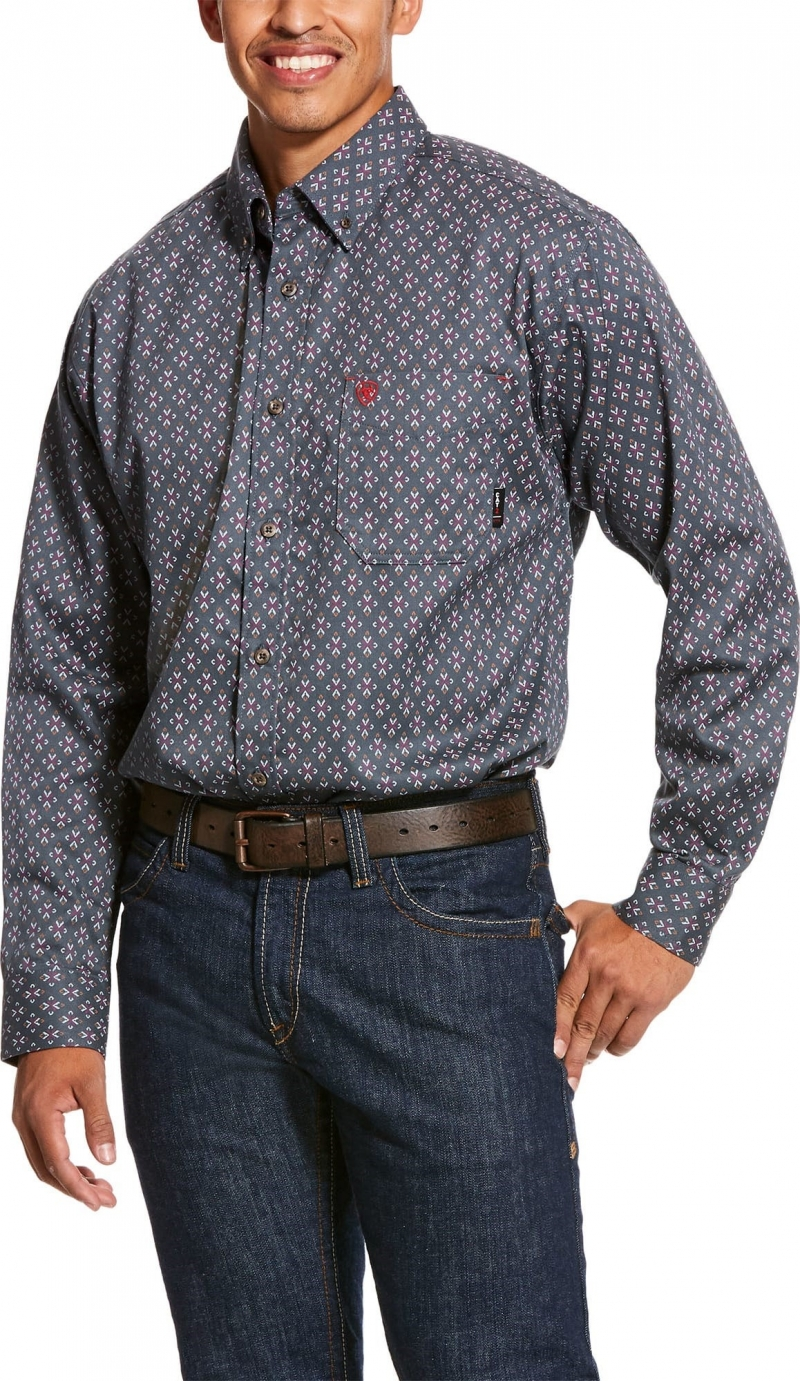 Ariat FR Button Front Overtime Work Shirt - Ombre Blue