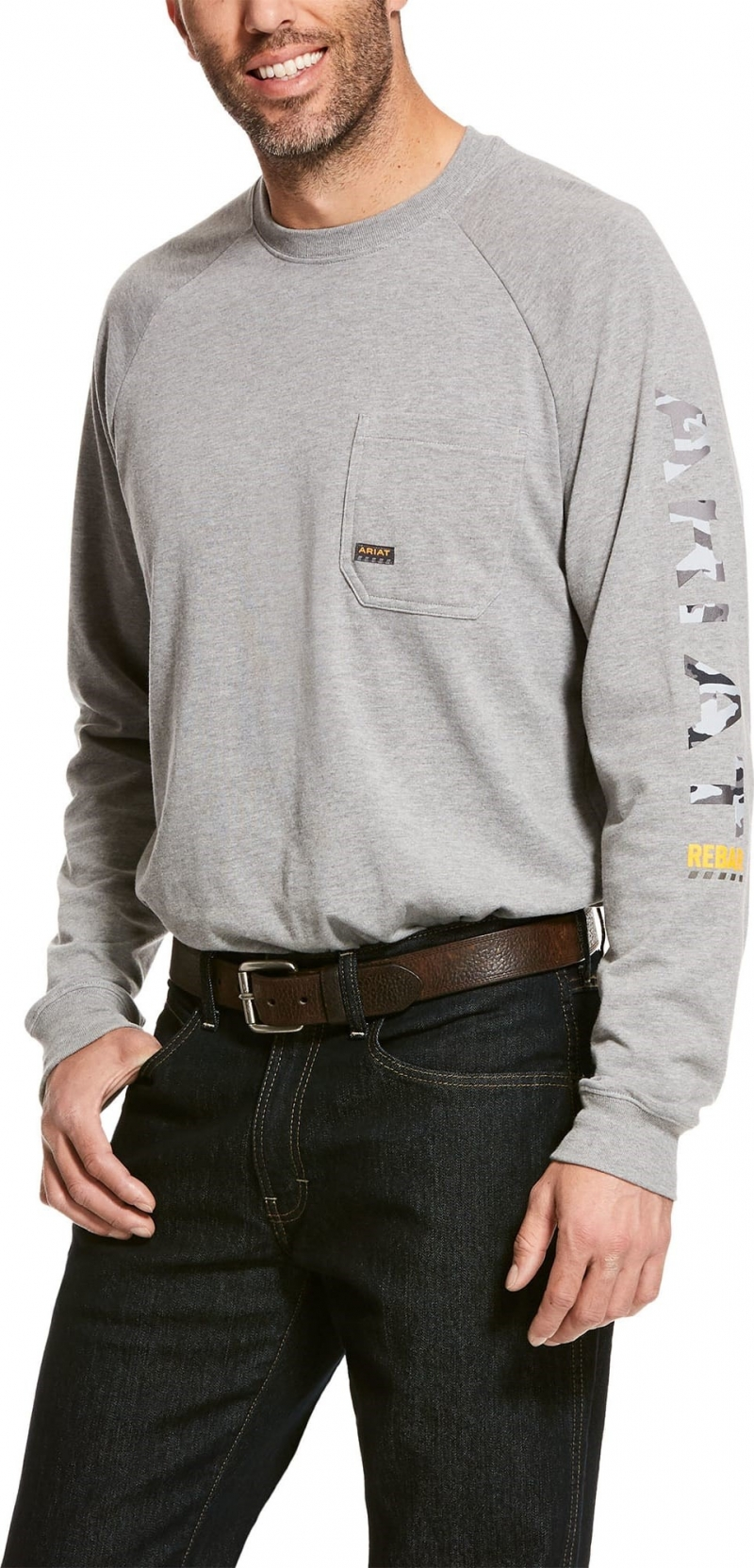 Ariat Rebar Cottonstrong Graphic Crewneck L/S T-Shirt - Heather Grey