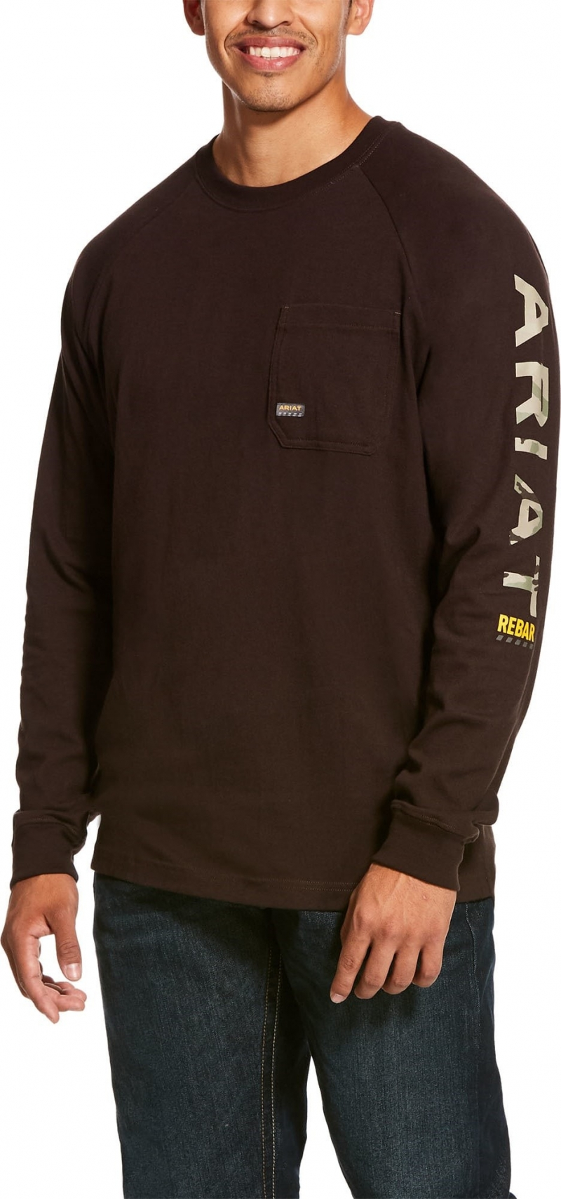 Ariat Rebar Cottonstrong Graphic Crewneck L/S T-Shirt - Dark Brown
