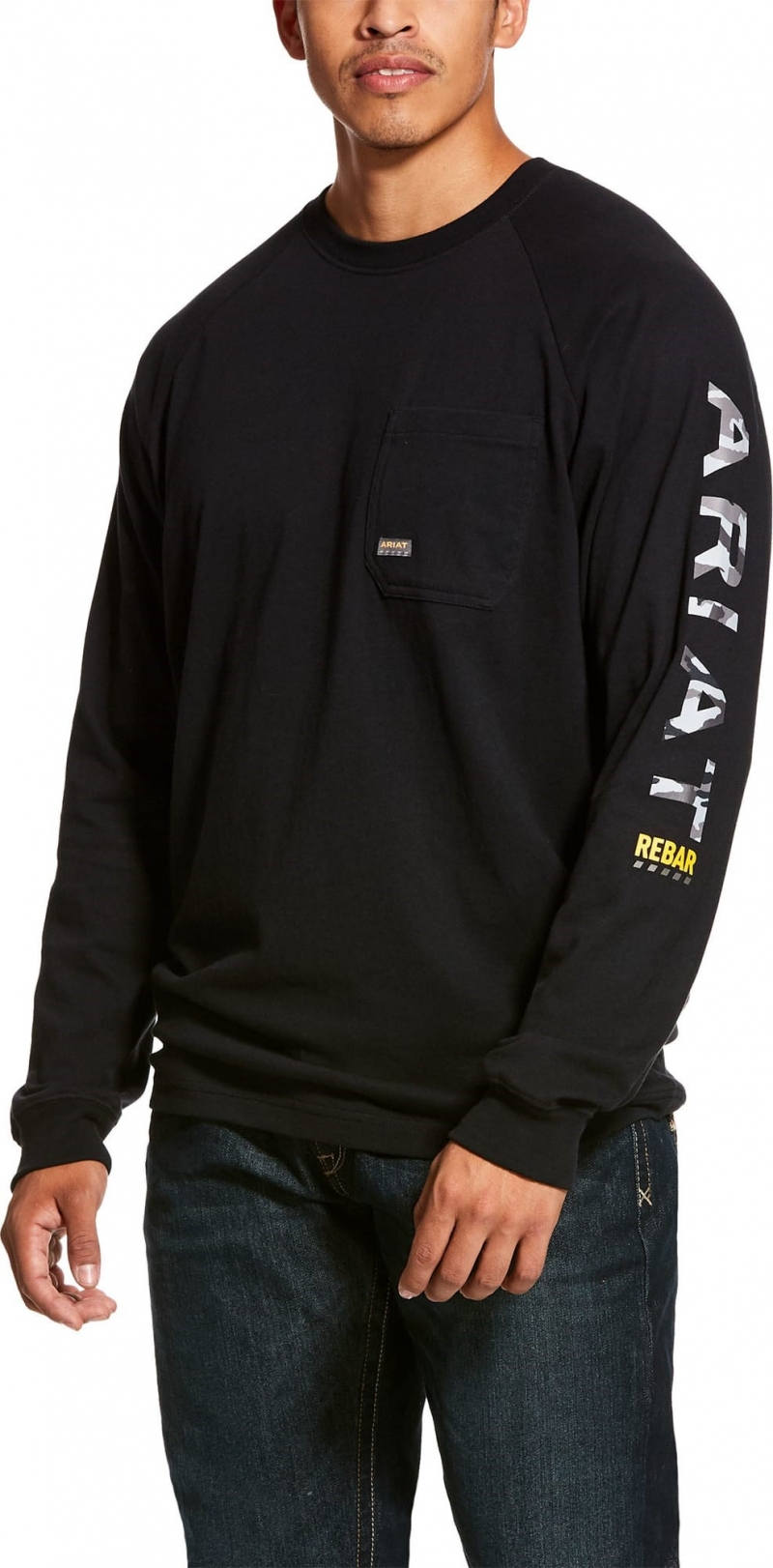 Ariat Rebar Cottonstrong Graphic Crewneck L/S T-Shirt - Black