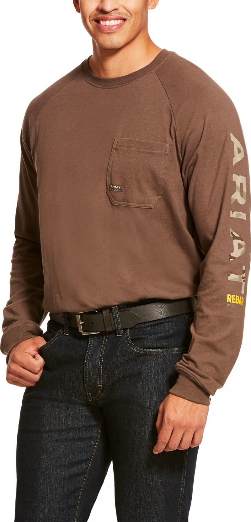 Ariat Rebar Cottonstrong Graphic Crewneck L/S T-Shirt - Moss