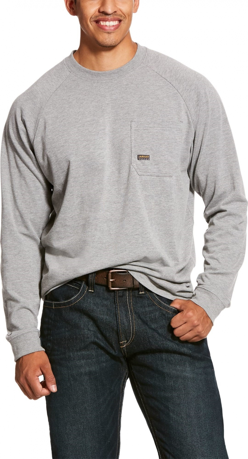 Ariat Rebar Cottonstrong Crewneck L/S T-Shirt - Heather Grey