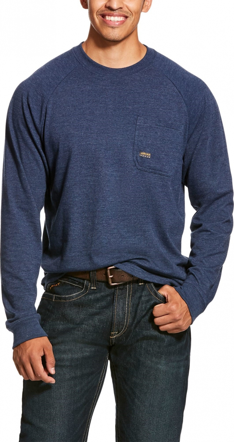 Ariat Rebar Cottonstrong Crewneck L/S T-Shirt - Navy Heather