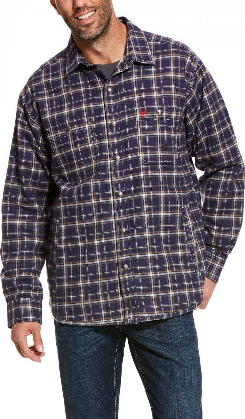 Ariat FR Snap Front Monument L/S Shirt Jacket- Navy Plaid