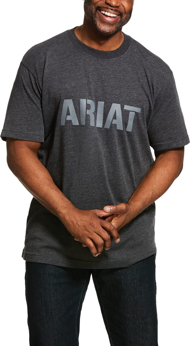 Ariat Rebar Cottonstrong Block Logo S/S T-Shirt - Charcoal Heather
