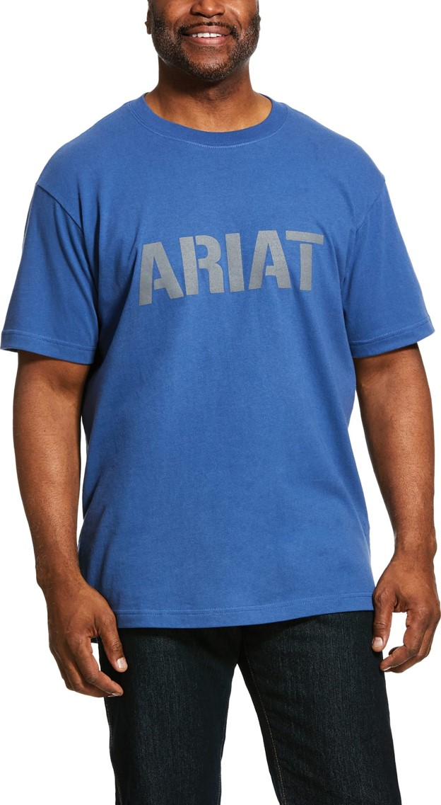 Ariat Rebar Cottonstrong Block Logo S/S T-Shirt - Metal Blue