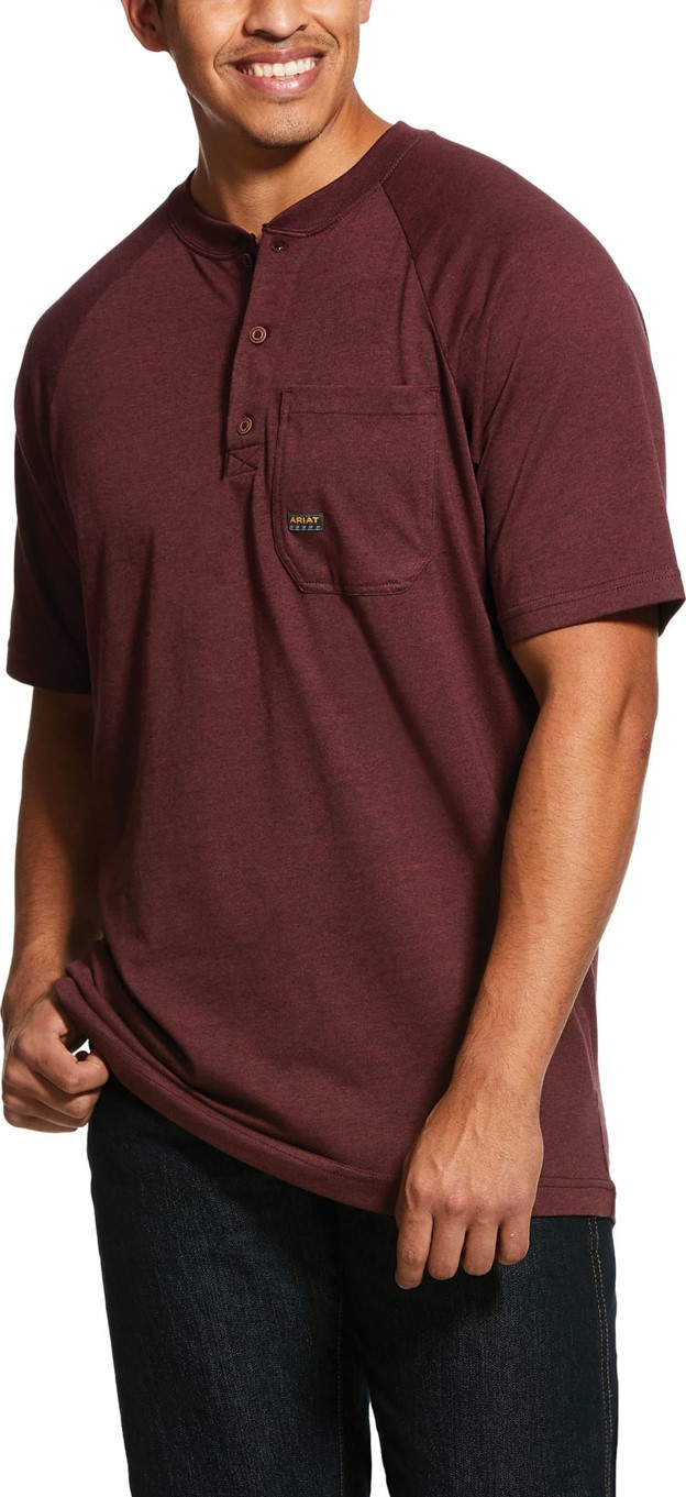 Ariat Rebar Cottonstrong S/S Henley Shirt - Burgundy Heather